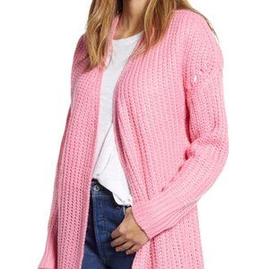 NEW Cloth By Design Open Front Cardigan Pink Sz M